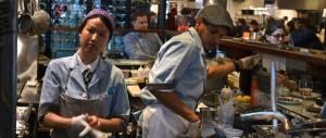 Blue Butcher Coats at El Colmado NYC
